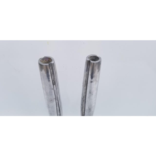 1970s 1970s Hollywood Regency Heavy Aluminum Candle Holders - a Pair For Sale - Image 5 of 7