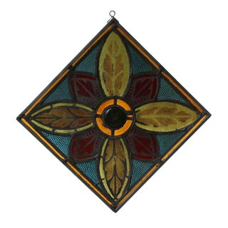 Stained Glass Panel With Metal Frame For Sale