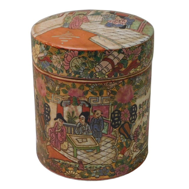 Chinese Oriental Porcelain Container For Sale