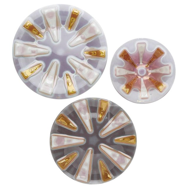 Higgins Studio Round Fused Glass Dishes - Set of 3 - Image 1 of 4