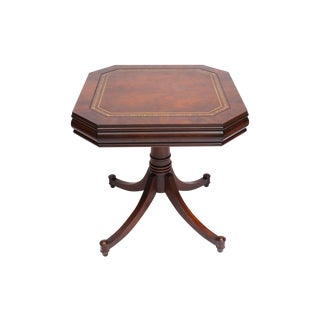 Leather Inlay Drum Table For Sale