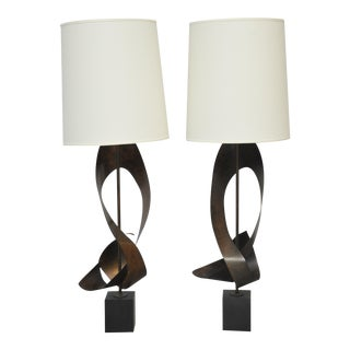 Harry Balmer Pair of Ribbon Lamps For Sale