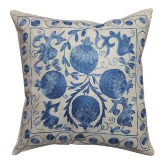 Blue Pomegranate Design Crochet Pillow Cover For Sale