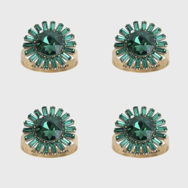 Emerald Giant Gem Skinny Napkin Rings, Emerald, Set of Four For Sale - Image 8 of 8