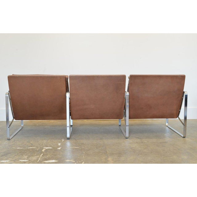 Mid-Century Modern Fabricius & Kastholm Three-Seater Sofa in Original Brown Leather and Steel For Sale - Image 3 of 6