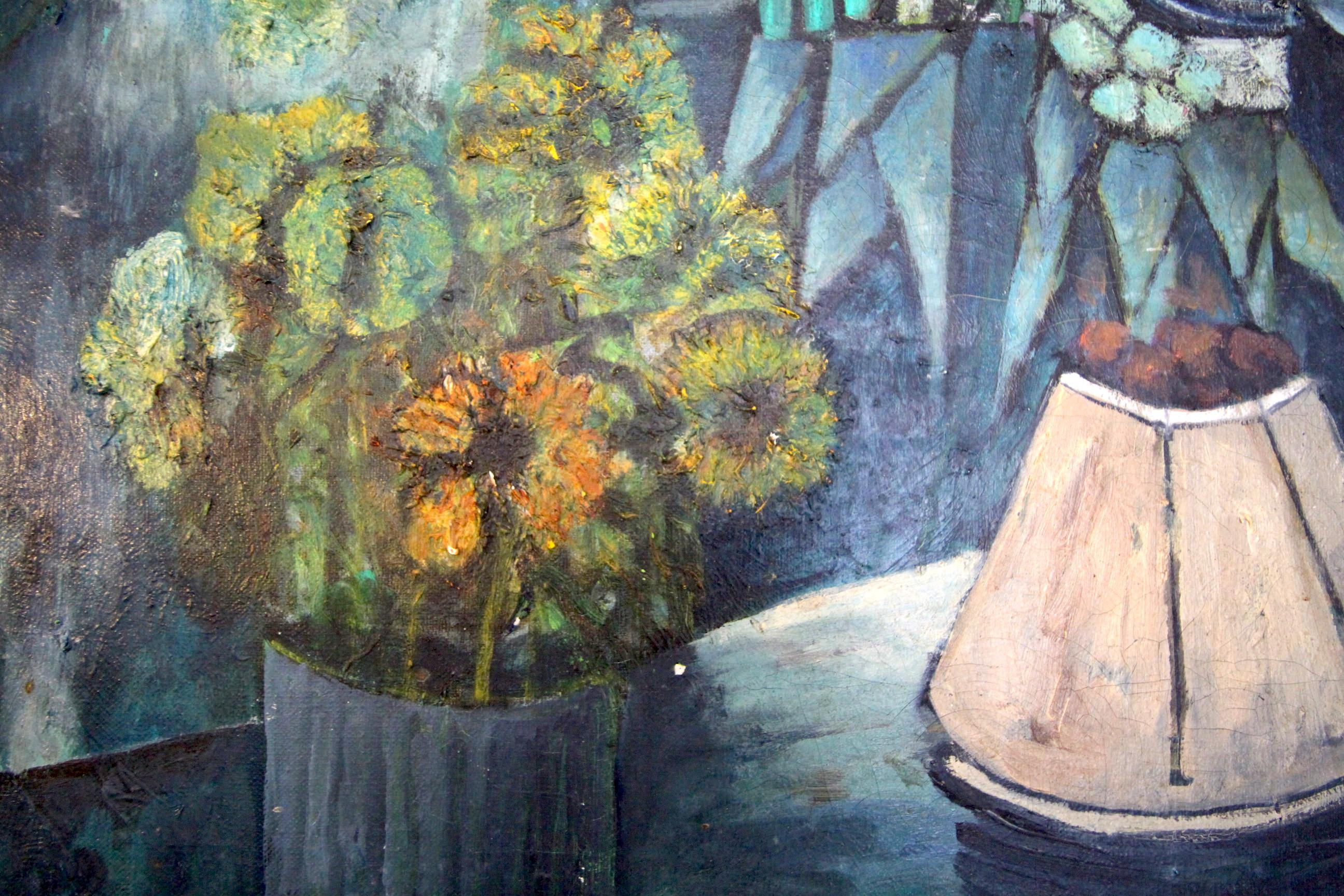Vintage Abstract Flowers On A Table Still Life Oil Painting Chairish