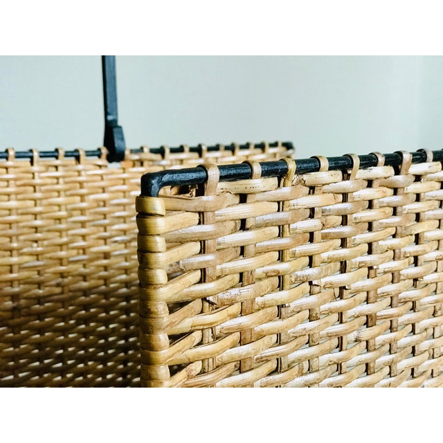 Brown Mid Century Rattan and Iron Magazine Rack For Sale - Image 8 of 12