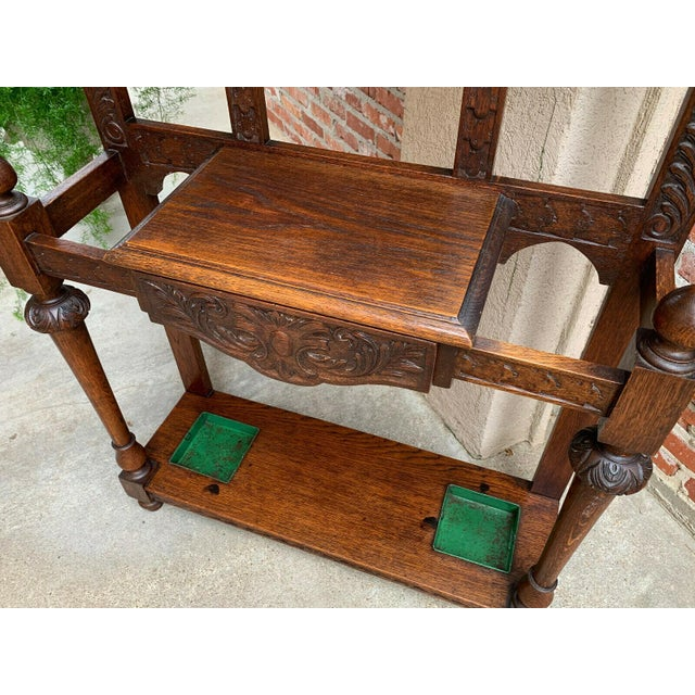 Renaissance Antique English Renaissance Carved Oak Hall Tree Stand Dome Mirror Coat Hat Rack For Sale - Image 3 of 13
