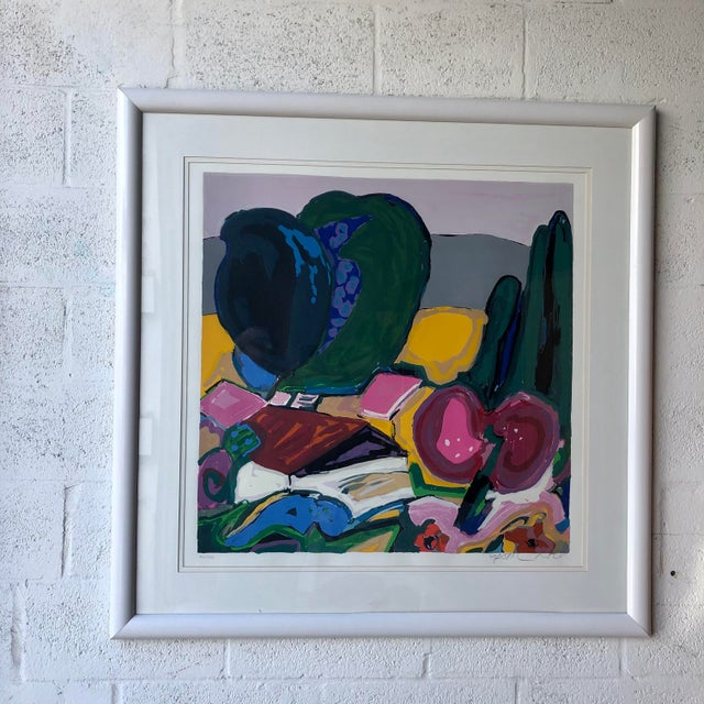 Large Vintage 1990s Framed Lithograph Numbered and Signed by the Artist. (Provably Gaston Vince) Features a Bold Colors...