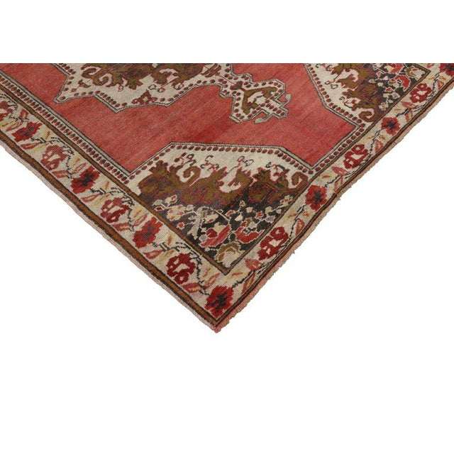 Turkish Vintage Mid-Century Turkish Oushak Rug - 4′6″ × 6′ For Sale - Image 3 of 5