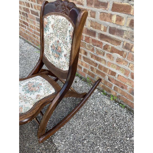 Traditional Vintage Victorian Style Upholstered Folding Rocking Chair For Sale - Image 3 of 10