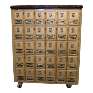 1950s Rustic Reclaimed Top Rolling Mailing Cabinet