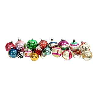 Vintage Mid-Century Mercury Glass Ornaments, 19 Pcs For Sale