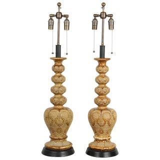 Pair of Exotic Ceramic Table Lamps With an Umber Glaze For Sale