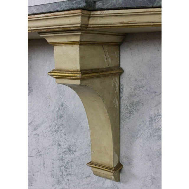 French Painted and Gilt Wall-Mounted Console with Green Marble - Image 7 of 10