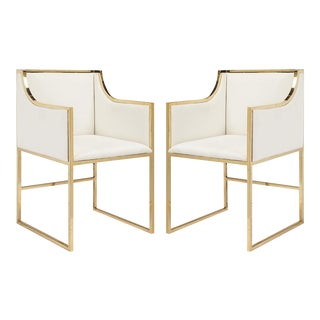 Worlds Away Anabelle White Linen Dining & Occasional Chairs With Brass Frame – a Pair