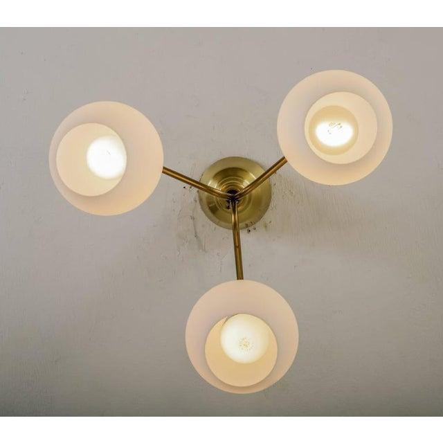 Ateljé Lyktan Three shaded Hans Bergstrom flushmount chandelier for Lyktan, Sweden, 1940s For Sale - Image 4 of 6
