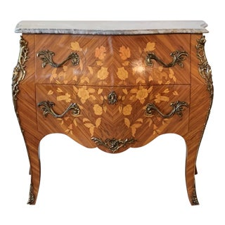 French Louis XV Style Fine Kingwood & Marquetry Ormolu Mounted Bombe Commode For Sale