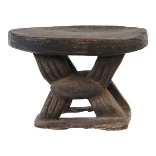 Late 20th Century Vintage Carved African Stool For Sale