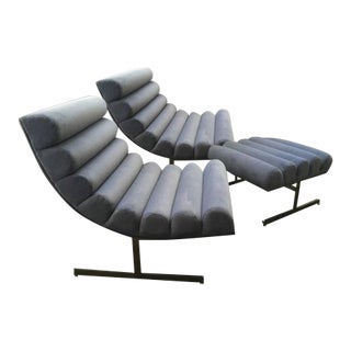 Kipp Stewart for Directional Pair of Lounge Chairs and Ottoman For Sale