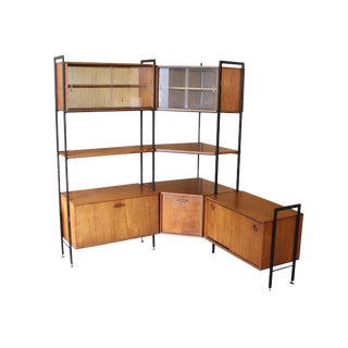 Free Standing Teak Corner Wall Unit by Avalon For Sale