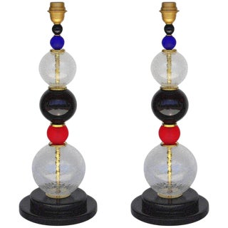 Pair of Italian Vintage Murano Glass Table Lamps For Sale