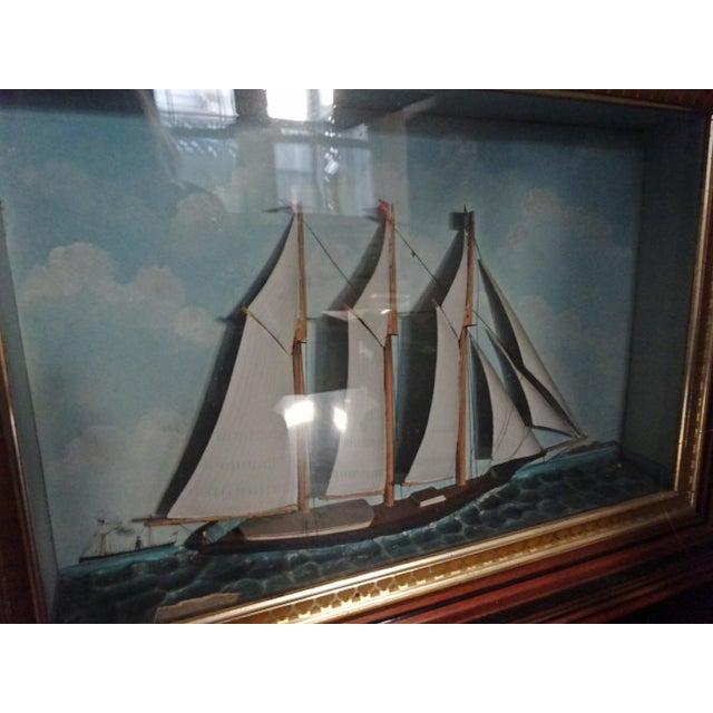 A fine 19th century handmade Ship Diorama c. 1850 Excellent condition ~ mahogany frame with designed gold lining A...