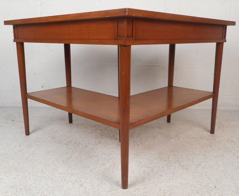 Unusual Mid Century Modern Walnut Two Tier Corner Table   Image 4 Of 10