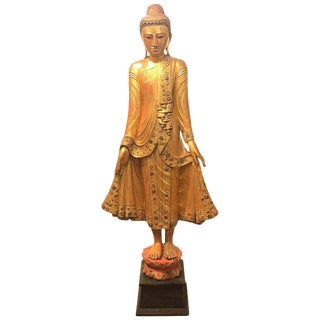 20th Century Asian Antique Carved Giltwood Thai Buddha For Sale