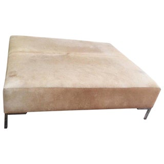 Modern Monumentally Large Cowhide Ottoman Coffee Table For Sale