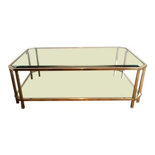 Mid Century Modern Roche Bobois Two Tiered Brass Coffee Table With Octagonal Corners and Beveled Top Glass Circa 1970 Pair of Tables