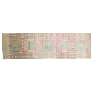 "Vintage Distressed Karaja Rug Runner - 3'5"" X 11'5"" For Sale"