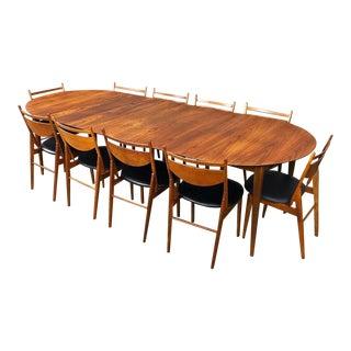 10 Chair Dining Set by Greta Grossman for Glenn of California For Sale