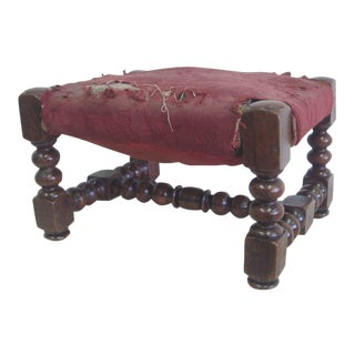 Four Italian 19th Century Hand-Carved Wood Stacked Ball Footstools / Ottomans