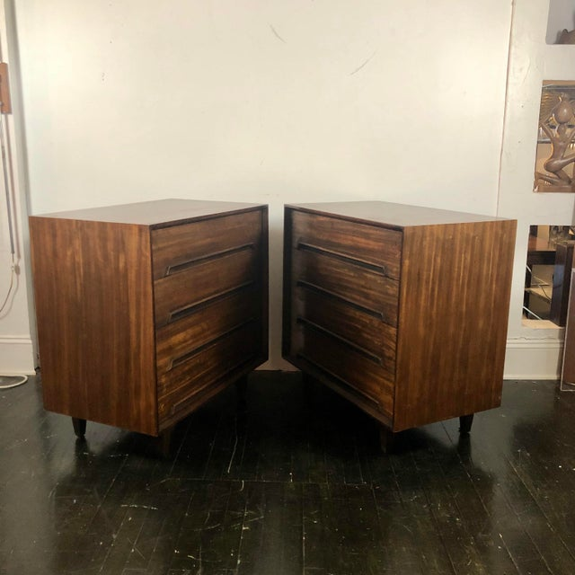 Pair of 1950s Chests by Milo Baughman for Drexel Perspective. Matching chests made of exotic Mindora wood have 4 drawers...