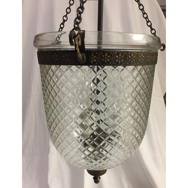Traditional 1970s Bell Jar Lantern With Etched Glass For Sale - Image 3 of 11