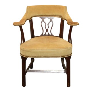 Brass Studded Vintage Leather Arm Chair For Sale