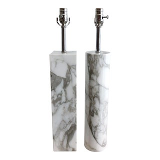 Walter Von Nessen Style Vintage Block Rectangular and Cylindrical Carrara Marble Table Lamps a Pair For Sale
