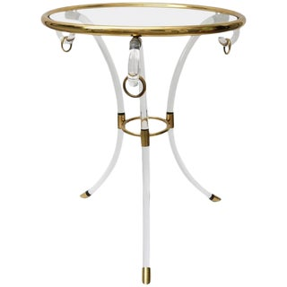 Very Rare Charles Hollis Jones Lucite and Brass Gueridon Table For Sale