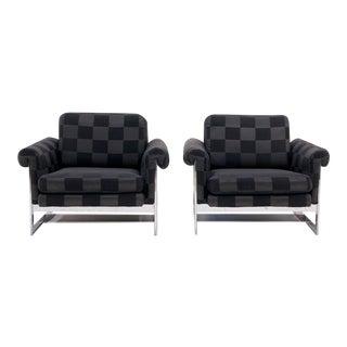 Pair of Milo Baughman for Thayer Coggin Chrome Lounge Chairs