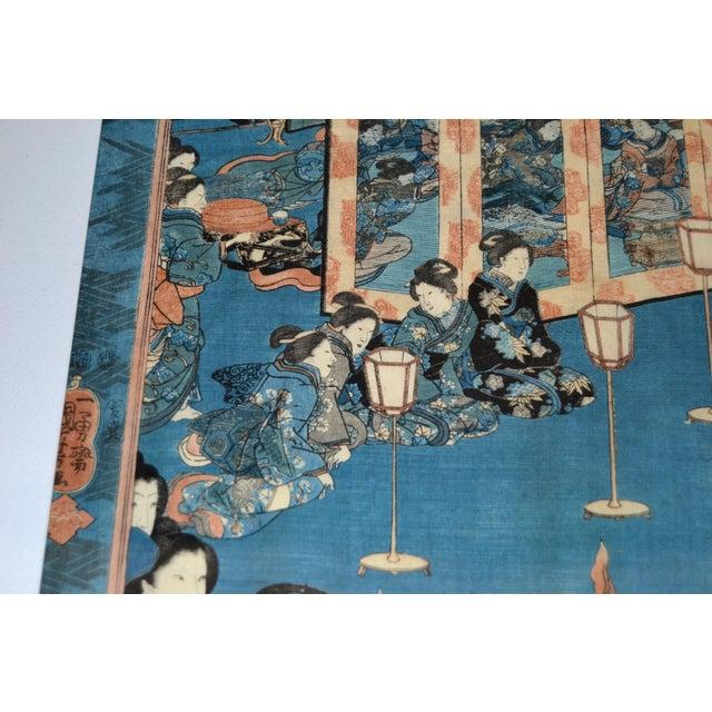 Utagawa Kuniyoshi Japanese Original Gilt Framed Woodcut Print on Paper C. 1845 For Sale In Miami - Image 6 of 11