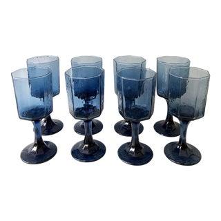 Midcentury Brutalist Blue Cordials, Set of 8 For Sale