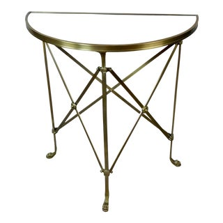 French Director Empire Campaign Bronze Demi-Lune Console Table