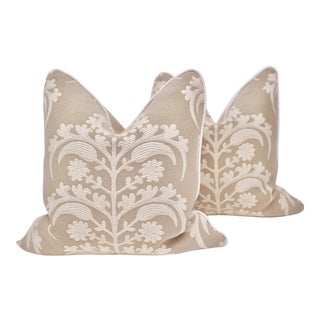 Hazleton House Square Embroidered Pillows - a Pair For Sale