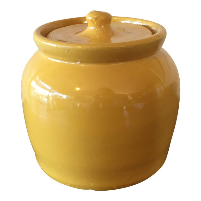 Vintage Yellow Pottery Jar - Image 1 of 10