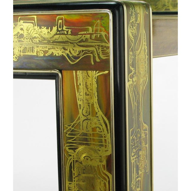 Metal Mastercraft Bernhard Rohne Acid-Etched Brass Table For Sale - Image 7 of 9