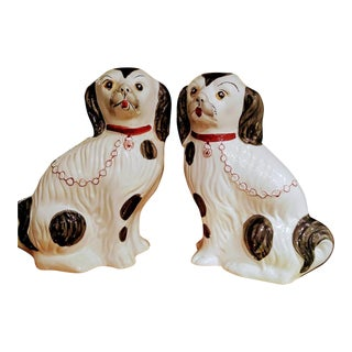 A Pair of Ceramic Staffordshire Dog Regency Figurines Statues Portugal For Sale
