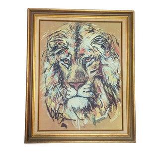 Vintage Lion Portrait Lithograph by Fritz Hug For Sale