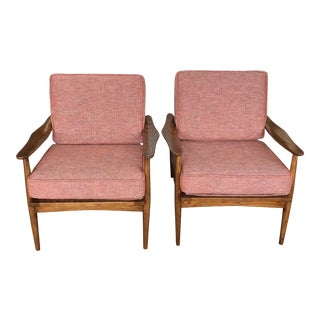 Mid Century Spindle Back Lounge Chairs - a Pair For Sale