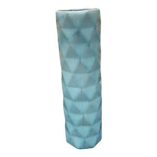 Geometric Turquoise Vase by Emissary For Sale
